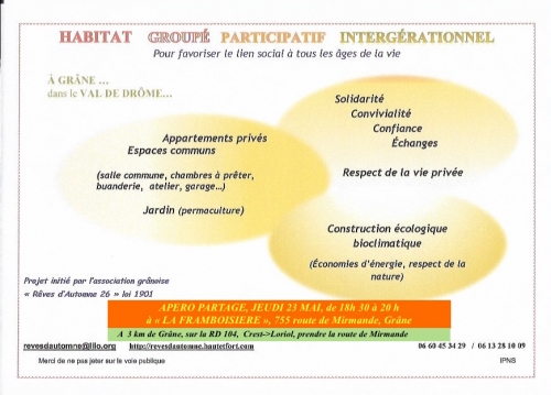 habitat participatif drome,habitat groupé grane drome 23 mai 2019,habitats participatifs
